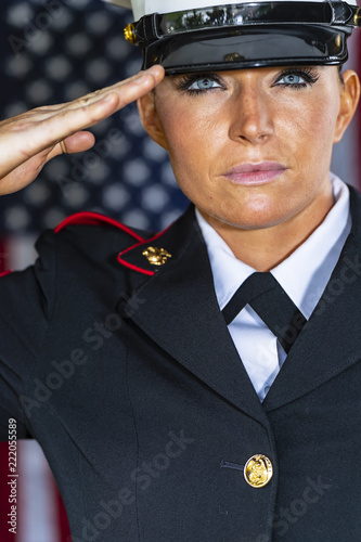 Photo  A United States Female Marine Posing In A Military Uniform