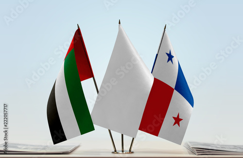 Fotografie, Obraz  Flags of UAE and Panama with a white flag in the middle