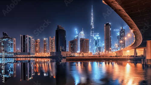 Dubai city by night Canvas Print
