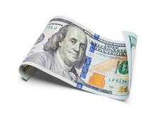 Curled Hundred Dollar Bill