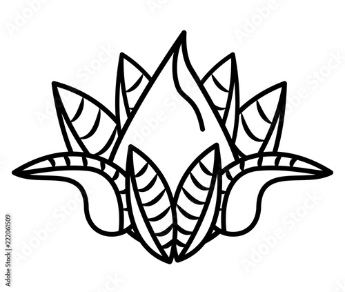 Lotus Flower Cartoon In Black And White Buy This Stock Vector And