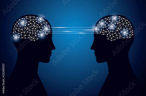 頭脳とネットワークイメージ Fototapet