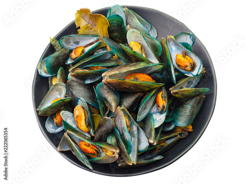 Valokuva  Steamed mussels on white background. (clipping path)