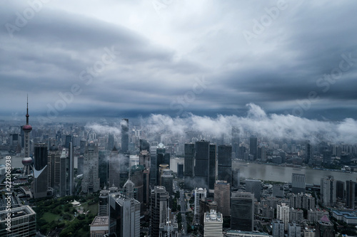 Fototapety, obrazy: aerial view of buildings of Shanghai city in a stormy day