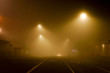 A foggy street at night