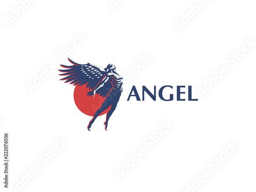 Fotografiet Angel man. Vector emblem.