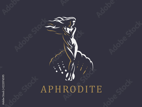 Aphrodite or Venus. Vector emblem. Canvas Print
