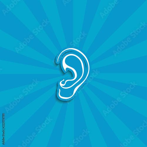 Fotografia, Obraz  ear vector icon. hearing icon