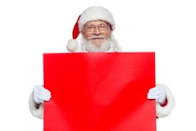 Christmas. The Kind Santa Claus In White Gloves Holds An Empty Cardboard Of Red Color. Place For Advertising, For Text, Empty Space. Copy-paste. Isolated On White Background.