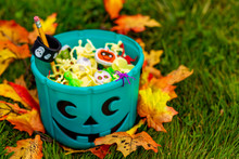 Halloween Teal Basket Full Of ...