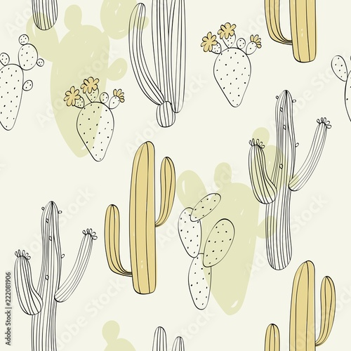 Türaufkleber Künstlich Vector hand drawn seamless cactuses pattern background