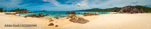La pose en embrasure Beige White sand beach. Vietnam. Panorama