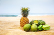 Exotic fruits on the sand