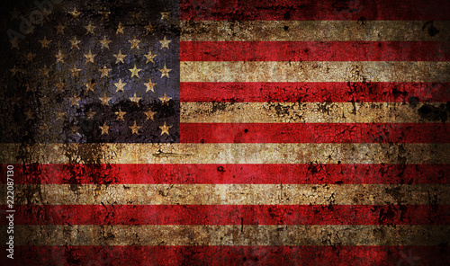 Old grunge USA flag Canvas Print