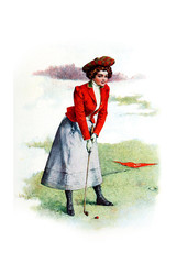 FototapetaBeautiful girl playing Golf