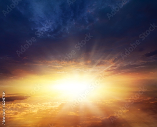 Poster UFO light about the sky . Paradise heaven . Dramatic nature background . beautiful cloud . Way to heaven . Journey of the Soul . background sky at sunset and dawn .