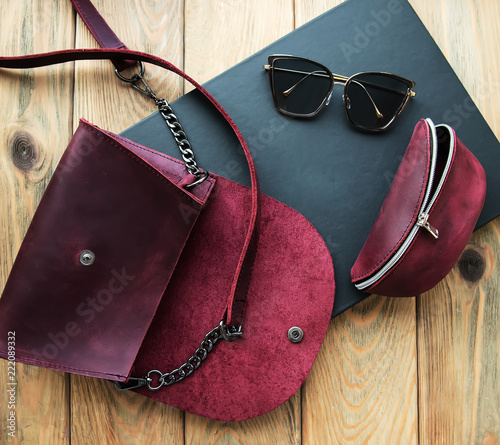 Leather bag with accessories