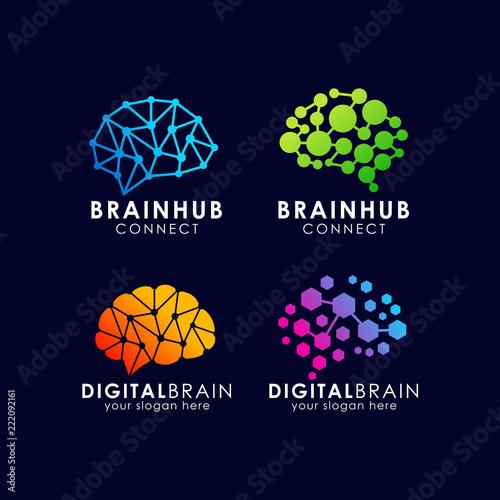 Photographie brain connection logo design. digital brain logo template