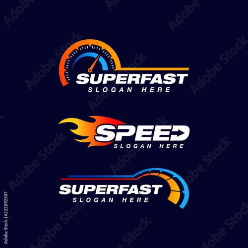 Fotomural speed indicator vector logo design