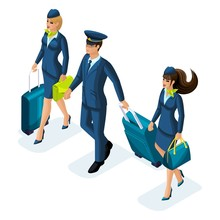 Isometric Group Of Employees Of International Airlines, Stewardess, Airborne Board, Pilot, Captain Of The Aircraft. Airplane For Travel