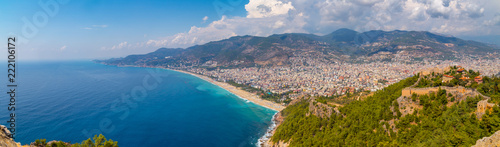 Poster Cote Western Alanya, Tyrkey panorama in high resolution observed from a Fortress of Alanya