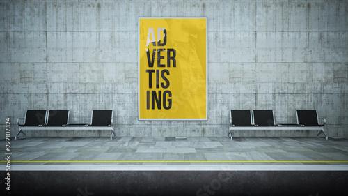 Leinwand Poster advertising billboard mockup on underground station