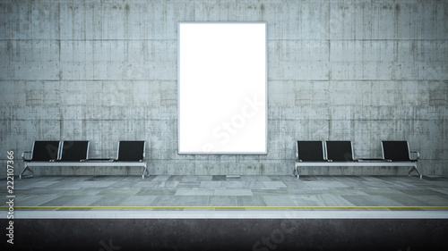 blank billboard mockup on underground station