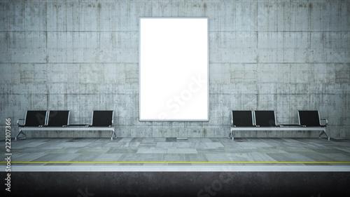 blank billboard mockup on underground station