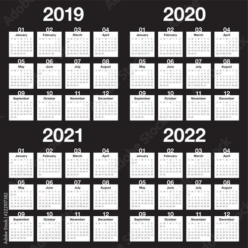 Fotografia  Year 2019 2020 2021 2022 calendar vector design template