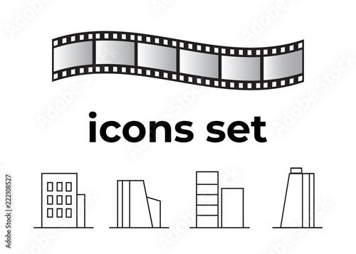 Vector icons set Canvas Print