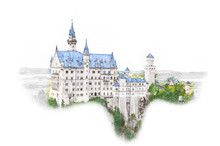 Munich,Bavaria,Germany. Neuschwanstein Castle In Sketch Style. Watercolor Illustration Of Historical Showplace For Print, Souvenirs, Postcards, T-shirts, Decoration.