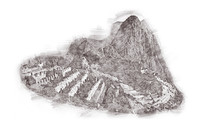 Machu Picchu In Peru - Lost City Of Incan Empire Is UNESCO Heritage. Vintage Engraved Illustration, Hand Drawn, Sketch Isolated On White.