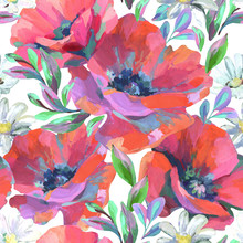 Acrylic Flowers And Leaves Seamless Pattern.