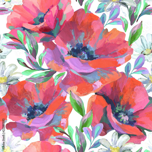 Fotomural Acrylic flowers and leaves seamless pattern.