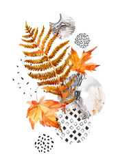 Fototapeta Liście Modern composition of watercolor floral elements and geometric shapes.