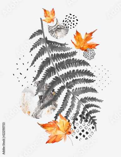 Fotobehang Grafische Prints Modern composition of watercolor floral elements and geometric shapes.