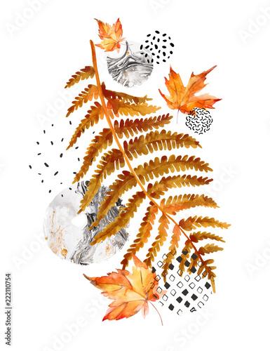 Photo sur Toile Empreintes Graphiques Modern composition of watercolor floral elements and geometric shapes.