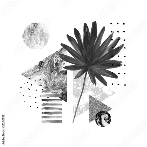 La pose en embrasure Empreintes Graphiques Abstract summer geometric shapes, exotic leaf composition
