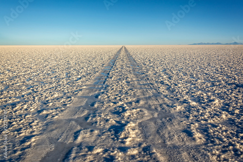 Poster Centraal-Amerika Landen Car tracks in Salar de Uyuni (Uyuni salt flats), Potosi, Bolivia, South America