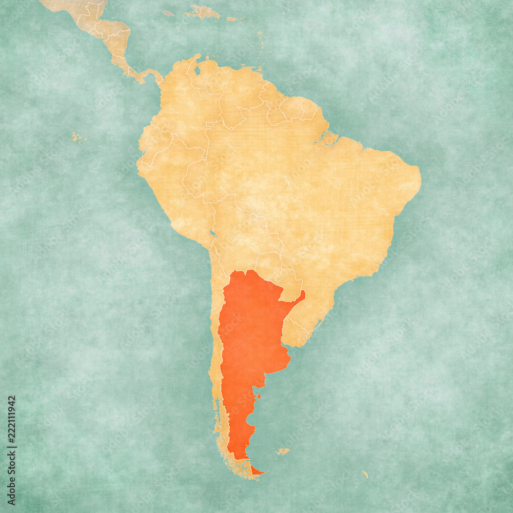 Map of South America - Argentina Foto, Poster, Wandbilder bei ...