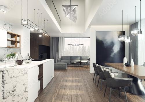 Fototapeta Nowoczesna i elegancka jadalnia z kuchnią z widocznym w tle pokojem dziennym.  obraz
