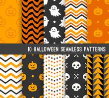 Ten Halloween Different Seamle...