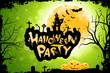Leinwandbild Motiv Grungy Halloween Party Poster with Pumpkins