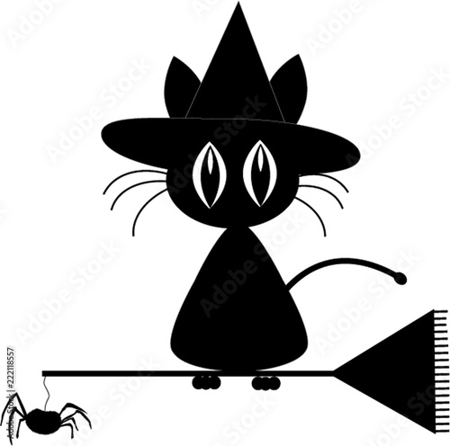Black Silhouette Of Cute Black Cat In Witch Hat Sitting On The Buy This Stock Vector And Explore Similar Vectors At Adobe Stock Adobe Stock