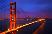 Illuminated Golden Gate Bridge...