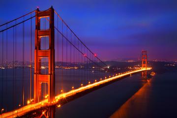 Illuminated Golden Gate Bridge at dusk, San Francisco
