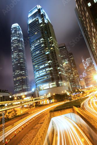 Staande foto Aziatische Plekken Hong Kong Business Center at Night