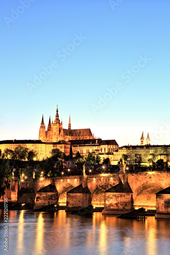 Deurstickers Praag Prague Castle with Charles Bridge at Dusk
