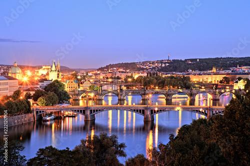 Poster Praag Bridges of Prague over Vltava River, Scenic View from Letna