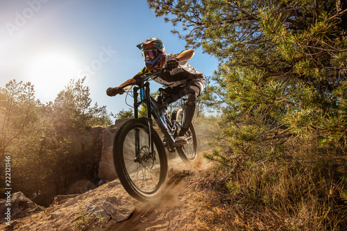 Photo  Mountain biker on forest trail. Male cyclist rides the rock